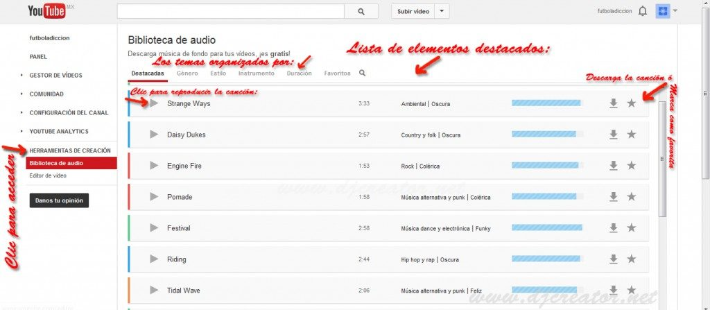 Tutorial como acceder a la Biblioteca de Audio YouTube